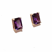 Vintage 14K Gold & 2CT TW Amethyst Earrings - Pierced - Posts with Nuts!