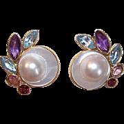 BIG & BOLD! 14K Gold, Mabe Pearl & Semi-Precious Stone Pierced Earrings!