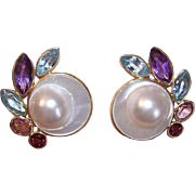 BIG & BOLD! 14K Gold, Mabe Pearl & Semi-Precious Stone Pierced Earrings!