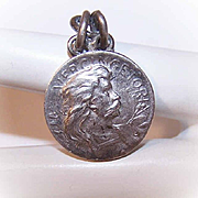 Vintage FRENCH Silverplate Medal, Pendant or Charm of Vercingetorix, Viking Warrior!