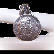 Vintage FRENCH Silverplate Medal, Pendant or Charm of Vercingetorix, Viking Warrior!