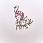 Vintage STERLING SILVER & Pink Crystal Charm - Best Friend!