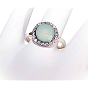 Art Deco Revival STERLING SILVER Chrysoprase and Rhinestone Fashion Ring!