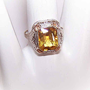 ART DECO 14K Gold & Citrine Filigree Ring!