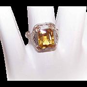 ART DECO 14K Gold & Citrine Filigree Ring!