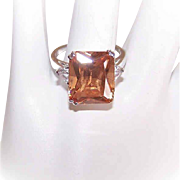 Vintage STERLING SILVER & Cubic Zirconia/CZ Fashion Ring - Cognac & Clear Stones!