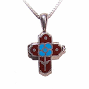 Vintage STERLING SILVER & Enamel Cross Pendant - Secret Compartment Interior!