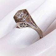 ART DECO 14K Gold & .28CT Diamond Engagement Ring - Size 4-3/4!