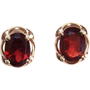 Vintage 14K Gold & 2.50CT TW Garnet Earrings - Pierced - Posts with Nuts!