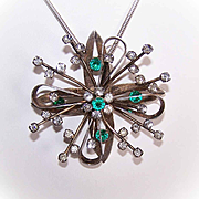 LARGE C.1950 Sterling SIlver & Green/White Rhinestone Pin/Pendant Combo!