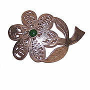 Vintage STERLING SILVER & Eilat Stone Floral Pin/Pendant from Israel!