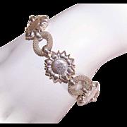 Vintage ITALIAN Sterling Silver Link Bracelet - Sunflowers!