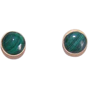 Vintage 14K Gold & 5mm Malachite Pierced Earrings - Posts with Nuts!