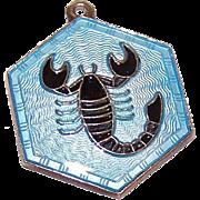 Vintage DAVID ANDERSEN Norway Sterling Silver & Enamel Zodiac Charm - Scorpio!