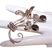 Vintage STERLING SILVER & Black Hematite Pin/Brooch by Sorrento - Lovely Florals!