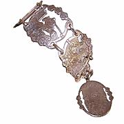 Vintage SPANISH Silver Tone Metal Link Bracelet - Cervantes Don Quixote Panels!