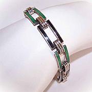 ART DECO Sterling Silver & Enamel Link Bracelet - Emerald Green & Black!
