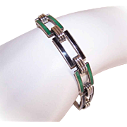 ART DECO Sterling Silver & Enamel Link Bracelet - Emerald Green & Black!