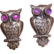 2 Vintage MEXICAN Sterling Silver & Amethyst Pins - Owls!