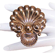 Stunning STERLING SILVER Vermeil Pin by Cini - Open Shell!