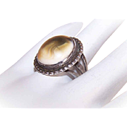 Vintage STERLING SILVER & Operculum Shell Ring!