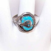 Vintage STERLING SILVER & Turquoise Snake Ring by Effie C (Zuni)!