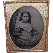 VICTORIAN Tintype of a Little Girl - Under Glass, Brass Frame!