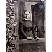 VICTORIAN Tintype of a Young Lady Standing at the Door!
