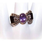 Vintage STERLING SILVER, Amethyst & Marcasite Fashion Ring - Bow Design!