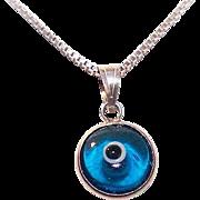 Vintage STERLING SILVER & Blue/White Glass EVIL EYE Charm/Pendant - Protective Talisman!