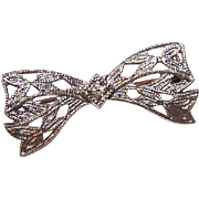 Vintage STERLING SILVER & Rhinestone Filigree Bow Pin - Perfect for Little Girl or Favorite Doll!