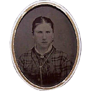VICTORIAN Tintype of a Young Lady Wearing Interesting Jewelry!
