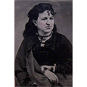 VICTORIAN Tintype of a Young Lady in Mourning Wearing Jet Jewelry