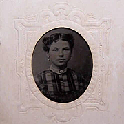 VICTORIAN Tintype of a Young Lady Wearing Interesting Jewelry