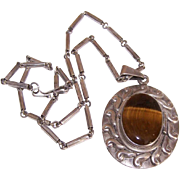 Vintage LOS BALLESTEROS Sterling Silver & Tigereye Pendant on Interesting Link Chain!