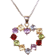 Vintage STERLING SILVER Vermeil & 3CT TW Semi-Precious Stone Heart Pendant!