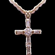 Vintage STERLING SILVER Vermeil & Cubic Zirconia Cross Pendant!