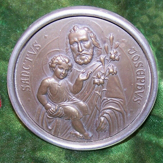 C.1930 Religious Icon of Saint Joseph & The Infant Jesus - Made in Germany!