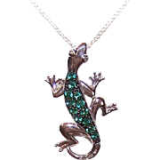 Vintage STERLING SILVER & Green Tourmaline Pendant - Gecko or Lizard!