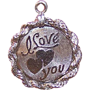 50% OFF!  Vintage STERLING SILVER Charm/Disc Charm by ELCO * I Love You with Hearts!
