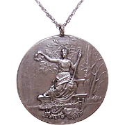 Vintage FRENCH SILVERPLATE Award Medal or Participation Medal - Our Lady of Victory!