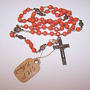 Vintage FRENCH Silverplate & Faceted Coral Glass Rosary with Original Paper Tag!
