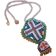 Vintage HAND BEADED Religious Cross Necklace from France!