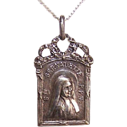 C.1930 FRENCH Silverplate Religious Medal - Saint Bernadette Soubirous Dressed as a Nun!