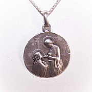 Dated 1912 FRENCH 800/900 Silver First Communion Medal - Young Girl!