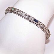 ART DECO Sterling Silver & Rhinestone Filigree Link Bracelet!
