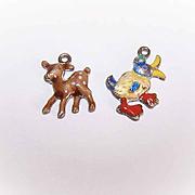 2 Vintage STERLING SILVER & Enamel Charms from a Baby Bracelet - Duck & Deer!