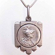 Vintage FRENCH Silverplate Award Medal or Pendant - The Goddess Gallia!