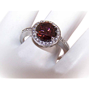 Stunning STERLING SILVER & Cubic Zirconia/CZ Solitaire Halo Ring!