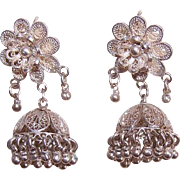 Vintage MIDDLE EASTERN Silver Jhumka Filigree Pierced Earrings!